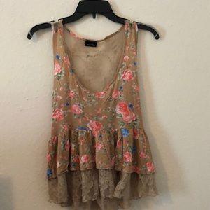 Rue21 Floral Print Sleeveless Tunic Top